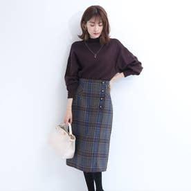 配色パイピングタイトスカート (ブルー)