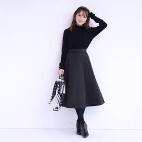 キルティングスカート×ハイネックニットSET (黒)