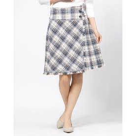 ツイードチェック台形スカート (ダスティー)