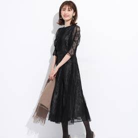 切替レースプリーツドレス (特殊黒)