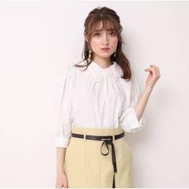 衿刺繍パフ袖ブラウス (白)