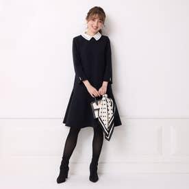 衿付き裾フレアカットワンピース (紺)