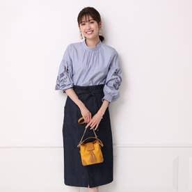 ダブルリボン付タイトスカート (紺)