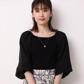 袖シフォンボリュームニット (黒)