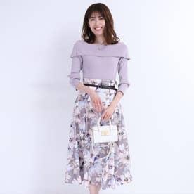 ベルト付フラワープリントスカート (モカピンク)
