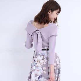 洗える3wayセーラーネックニット<7分袖> (薄紫)