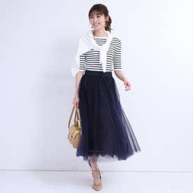 チュール×レースロングスカート (紺)