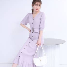 5分袖マーメイドリブニットワンピース (薄紫)