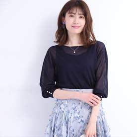 ネックレス付シアーボートネックニット (紺)