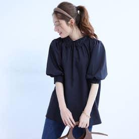 衿刺繍パフ袖ブラウス (紺)