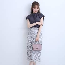 配色大花レースタイトスカート (グレー)