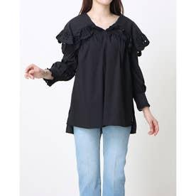 Bigカラー刺繍ブラウス《7分袖》 (黒)