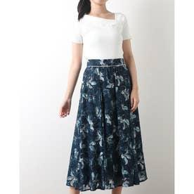 シアープリントスカートセット (紺)
