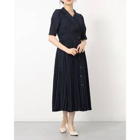 トレンチライクプリーツ5分袖ワンピース (紺)