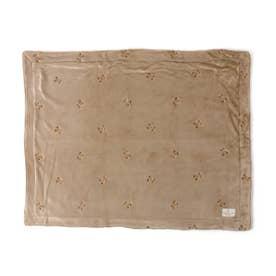 テディベア刺繍ブランケット (ベージュ)