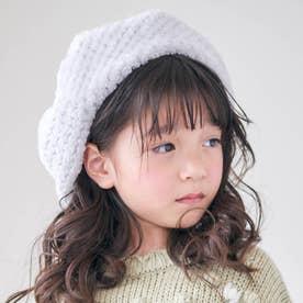 ぽこぽこファーベレー帽 (ライトグレー)