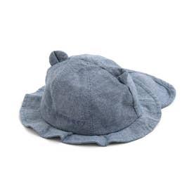 くまさん日よけ付きベビー帽子 (サックス)