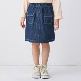 フロントボタンスカート (ネイビーブルー)