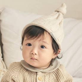 とんがりベビーニット帽 (アイボリー)