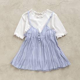 シアーTシャツ&キャミセット (ブルー)