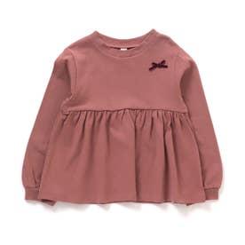 無地&ドットシンプルぺプラムTシャツ (ピンク)