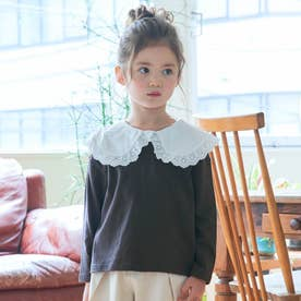 WEB限定 衿付きカットソー長袖Tシャツ (チャコール)
