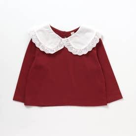 WEB限定 衿付きカットソー長袖Tシャツ (レッド)