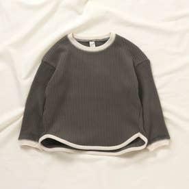 ゆったりワッフルTシャツ (チャコール)
