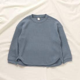 ゆったりワッフルTシャツ (ブルー)