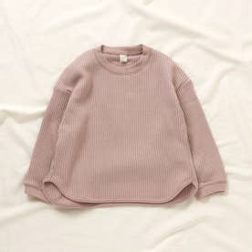 ゆったりワッフルTシャツ (ピンク)