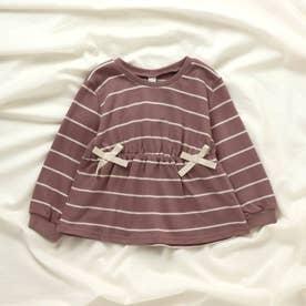 リボンボーダーTシャツ (ピンク)