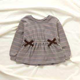 リボンボーダーTシャツ (サックス)