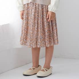 花柄プリーツスカート (オレンジ)