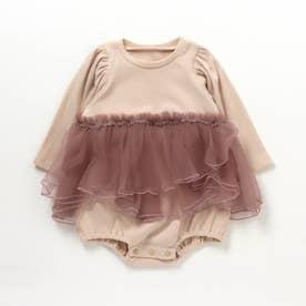 花びらスカートレイヤードカバーオール (ピンク)