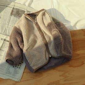 ポケット付きファーフリースジャケット (ベージュ)