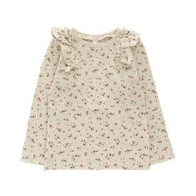 ワッフル肩フリルTシャツ (花柄)