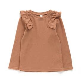 ワッフル肩フリルTシャツ (オレンジ)