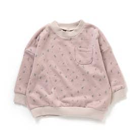 WEB限定 総柄配色トレーナー (ピンク)