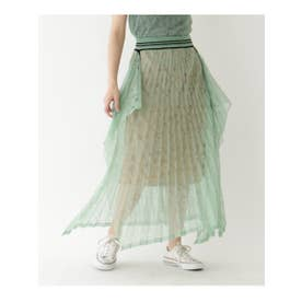 ◆Mame Kurogouchi 模様編みプリーツニットスカート (ライトグリーン(021))