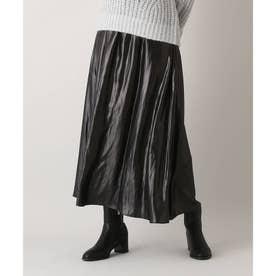 レザーライクギャザーマキシスカート (ブラック)