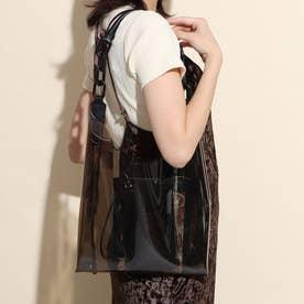 【Kiara】2点ポーチ付きPVCトートバッグ(ペイズリー柄) (黒合皮スムース)