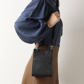 ストラップ付き本革ミニバッグ (黒カーフ)