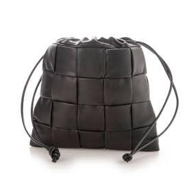 メッシュ編み巾着バッグ (黒合皮スムース)