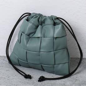 メッシュ編み巾着バッグ (グリーン合皮スムース)