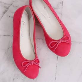 WEB先行予約販売【100g 超軽量】ラウンドトゥバレエシューズ (ピンク合皮スエード)