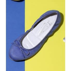 【100g 軽量】ラウンドトゥバレエシューズ (ブルー合皮スエード)