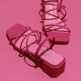 スクエアヒールチューブラインサンダル (ピンク人工スムース)