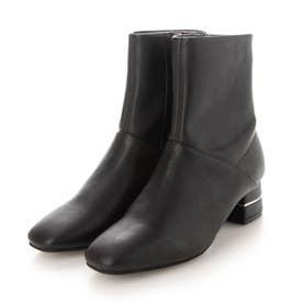 デザインヒールスクエアトゥショートブーツ (黒合皮スムース)