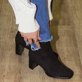 【ECサイト限定】スクエアトゥショートブーツ (黒合皮スエード)