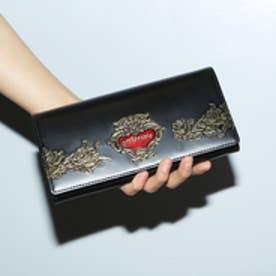 ローズジャルダン かぶせ長財布 (ブラック)